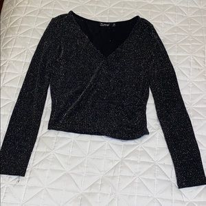 Sparkly Faux Wrap Long Sleeve